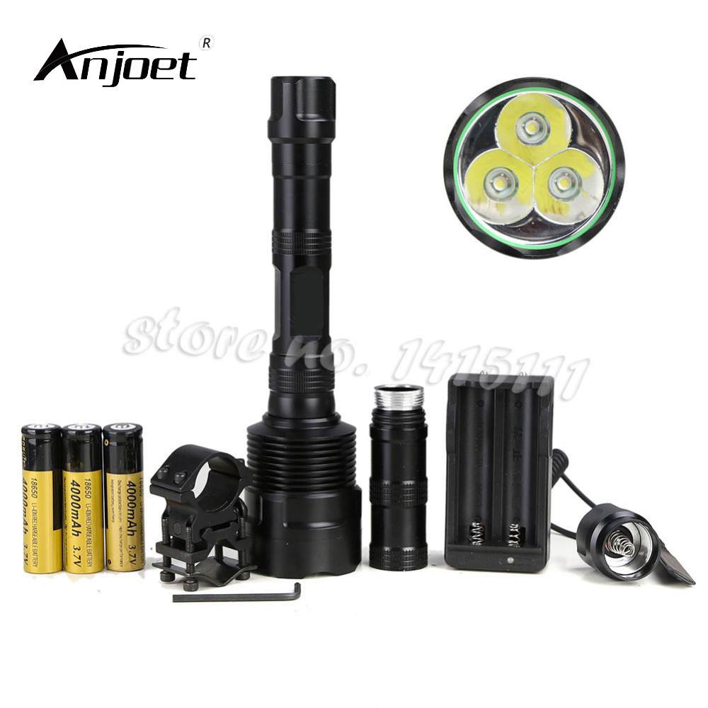 ANJOET Super Bright Flashlights 3x XML T6 LED 6000LM 6000 Lumens 5 Modes Torch +Switch+Charger + 3x18650 Rechargeable Battery nktech super bright nk 3xt6 3x bulb xm l xml t6 led 3800lm 3800 lumens 5 modes flashlights outdoor torch