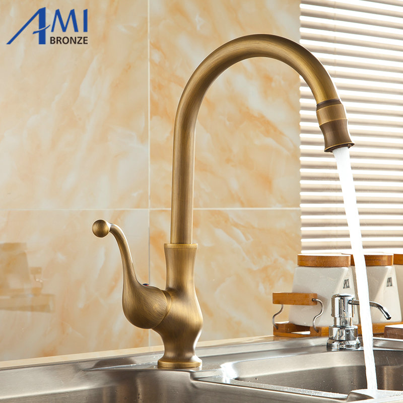 360 Rotate Antique Brass Finish Kitchen Faucets Bathroom Basin Sink Faucet Mixer Tap free shipping antique bronze finish 360 degree swivel brass faucet bathroom basin sink mixer bath