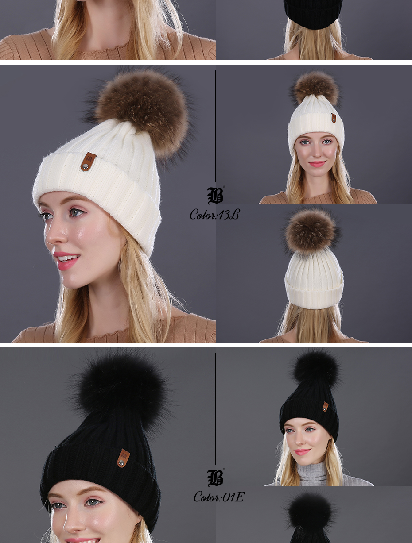 [FLB] Wholesale Real Mink Fur Pom Poms Knitted Hat Ball Beanies Winter Hat For Women Girl 'S Wool Hat Cotton Skullies Female Cap 31