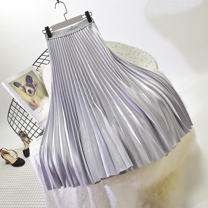 Stretch High Waist Long Pleated Skirt 30