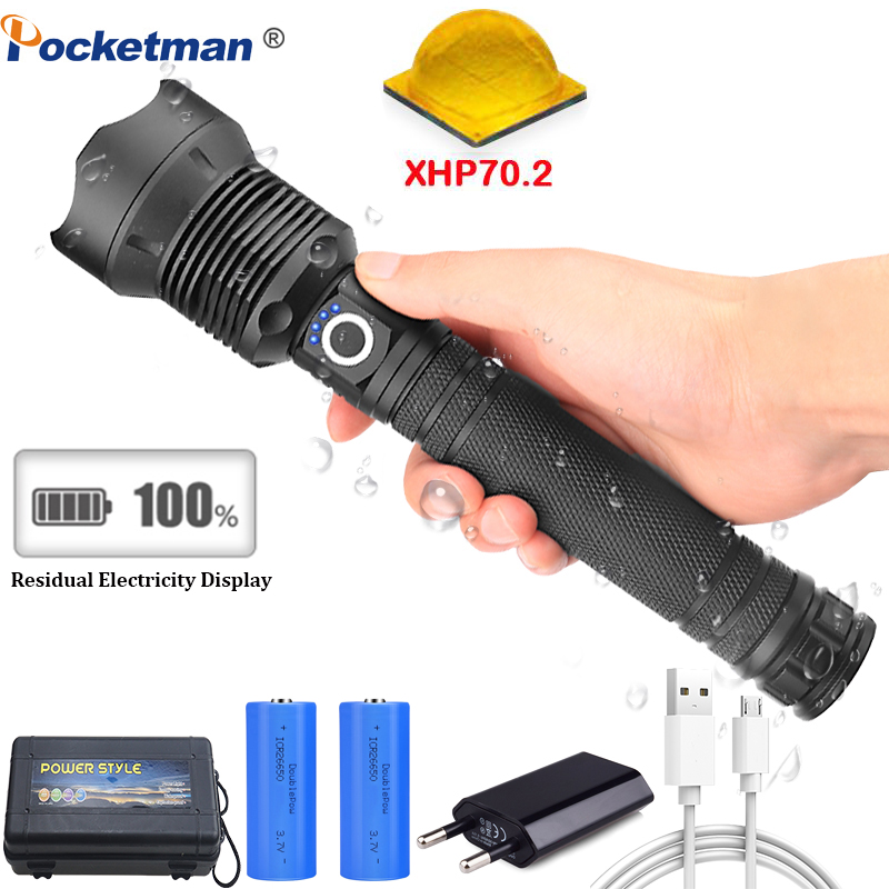 50000 lumens Lamp xhp70.2 most powerful flashlight usb Zoom led torch xhp70 xhp50 18650 or 26650 battery Best Camping, Outdoor Люмен