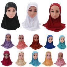 Dziewczyny dzieci muzułmański hidżab islamski arabski szalik szale z pięknym Rhinestone moda akcesoria do nakrycia głowy 3 8 lat