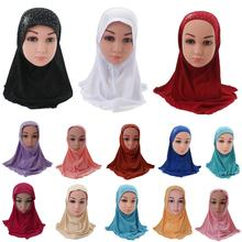 Mädchen Kinder Moslemisches Hijab Islamischen Arabischen Schal Schals mit Schöne Strass Mode Headwear Zubehör 3 8 Jahre alt