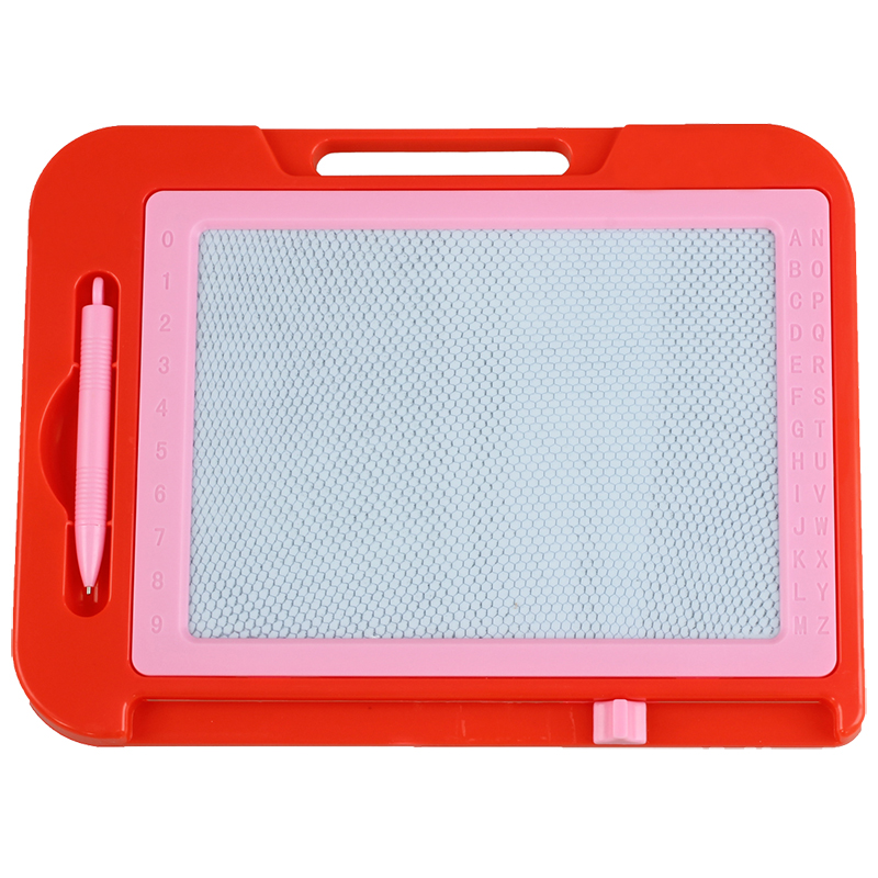 Red Pink Plastic Frame Magnetic Writing Drawing Board