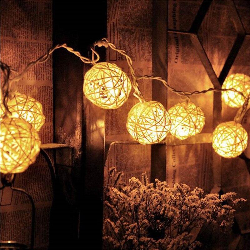 LED Battery String Lights 2M 20pcs White Handmade Rattan Balls String Lights Fairy Party Wedding Patio
