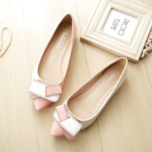 2018 Новая популярная женская обувь модная обувь с острым носком с бантом кожаные туфли на плоской подошве женская обувь eh12