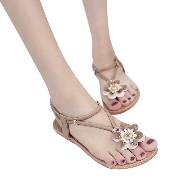 cb7f7b8a4570af Summer Lady Women Bohemian Ethnic Rhinestone Flat Sandals Roman Gladiator Flip  Flops Flower Shoes Girl Wedding