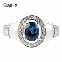 BAIHE Solid 14 k белое золото натуральный Лондонский голубой топаз SI/H натуральные бриллианты мужское обручальное свадебное кольцо ювелирные изде