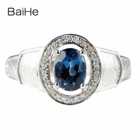 BAIHE Solid 14k White Gold Natural London Blue Topaz SI/H Natural Diamonds Men Ring Engagement Wedding Fine Jewelry Fashion Gift