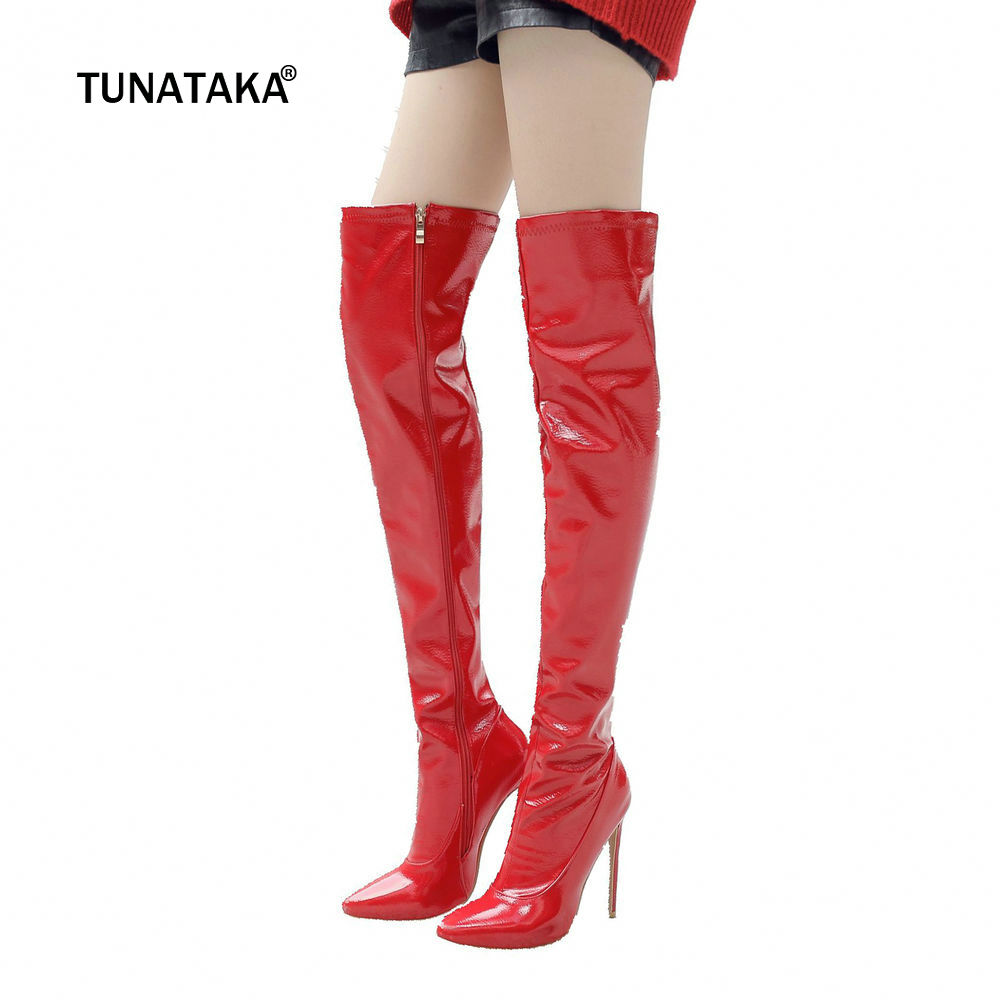 Women Side Zipper Sexy Thin High Heel Over The Knee Boots Fashion Pointed Toe Warm Winter Nightclub Shoes Red Black White 2018 autumn winter women thin high heel genuine leather side zipper pointed toe fashion over the knee boots size 33 40 sxq0818