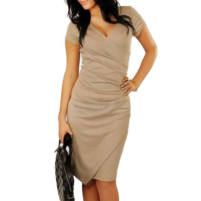 03f3db2cb FEIBUSHI vestido de verano para mujer talla grande sólido trabajo de  oficina de manga corta lápiz