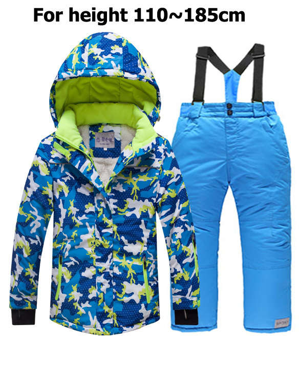 4~20t Teenage Winter Children Waterproof Ski Suit Youth Jacket Snowsuit Girls Outdoor Clothes Boy Clothing Set Outwear Snow Profit Small