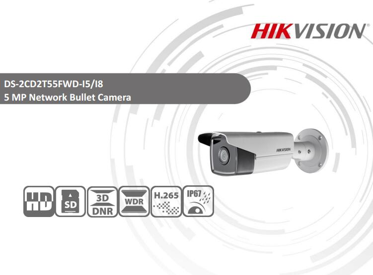 Free Shipping HIKVISION DS-2CD2T55FWD-I5 5MP Network Bullet Camera IP67 Security IP Camera CCTV