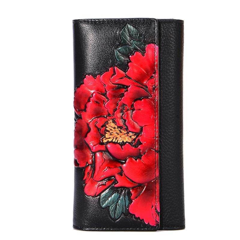 Genuine Leather Long Wallet Women Vintage Floral Purse Peony Flower Hands Wallets Female Luxury Evening Clutch