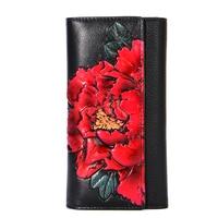 Genuine Leather Long Wallet Women Vintage Floral Purse Peony Flower Hands Wallets Female Luxury Evening Clutch Purses Wholesale