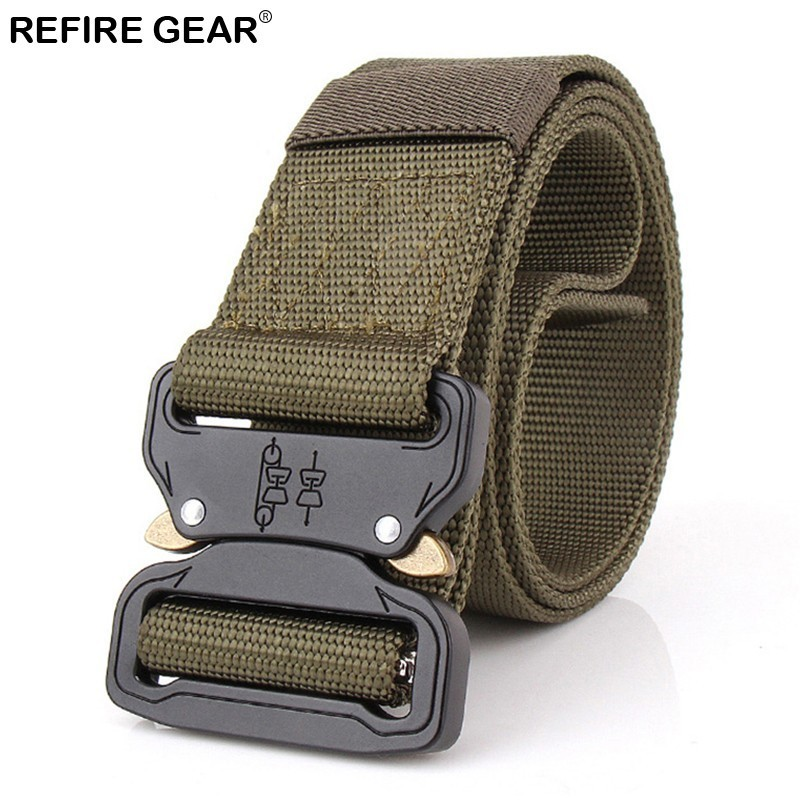 Humorous Refire Gear Outdoor Equipment Tactical Nylon Belts Men Metal Sport Buckle Soldier Swat Combat Belt Survival Paintball Waist Belt Be Novel In Design