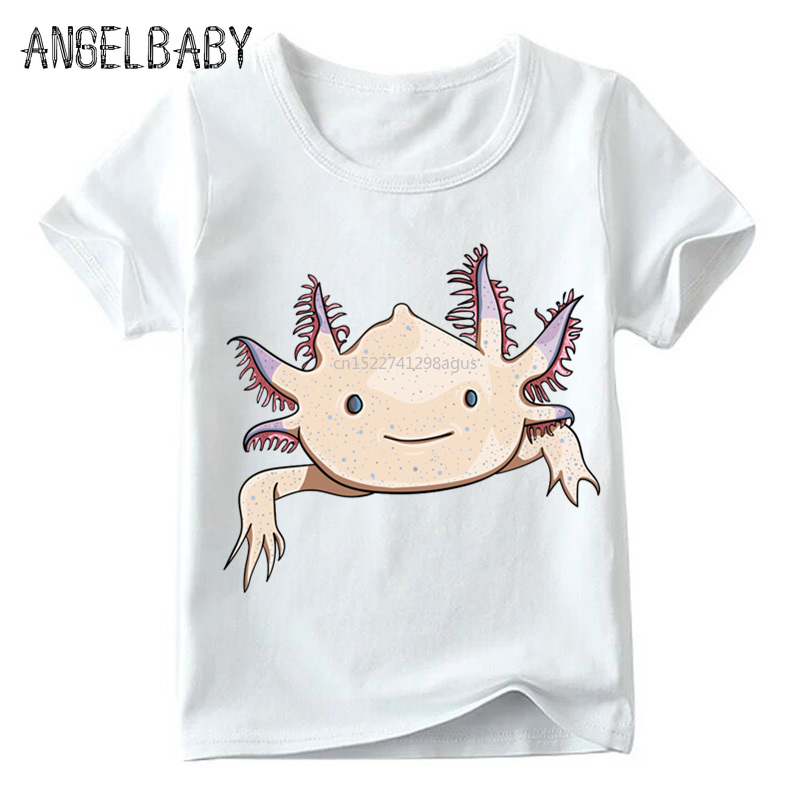 Fashion Print Cute Pink Axolotl Children T-shirts Summer Baby Boys/Girls Short Sleeve Tops Kids Soft T-shirt,ooo2315