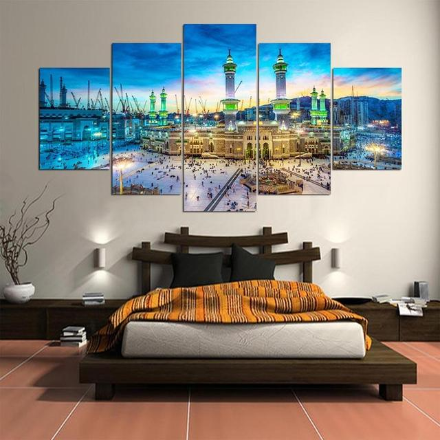 5 Pieces Printed Mecca Islamic Painting on canvas 5 panels Muslim     5 Pieces Printed Mecca Islamic Painting on canvas 5 panels Muslim canvas  prints poster picture home