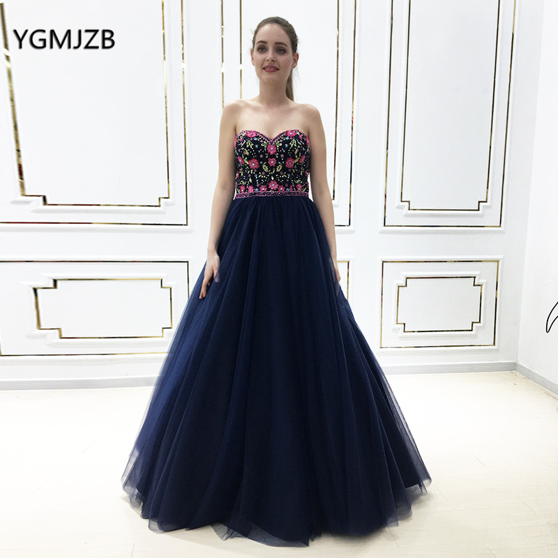 2019 New Red Long Prom Dress Sweetheart Embroidery Strapless Lace Up Navy Women Formal Party Gown Evening Dresses Robe De Soiree