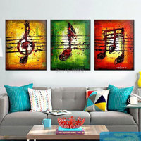 hand painted 3 piece canvas art staff Note Oil Painting colorful Abstract Music Notation Pictures Home Decor musical Wall Art