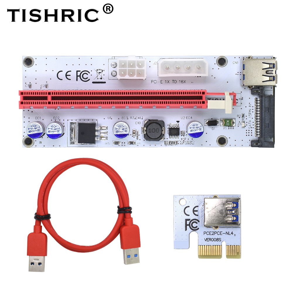 TISHRIC VER008S <font><b>Pci</b></font> Express Riser Card M2 1x 16x For BTC Miner SATA To 4Pin 6Pin Molex <font><b>USB</b></font> Adapter Cable <font><b>3</b></font> in <font><b>1</b></font> <font><b>Pci</b></font>-<font><b>e</b></font> Extender image