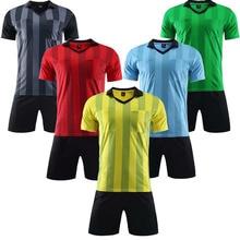 2ec8fd6fbcc short sleeve uniforms stripe referee men football de futbol judge jersey  customize
