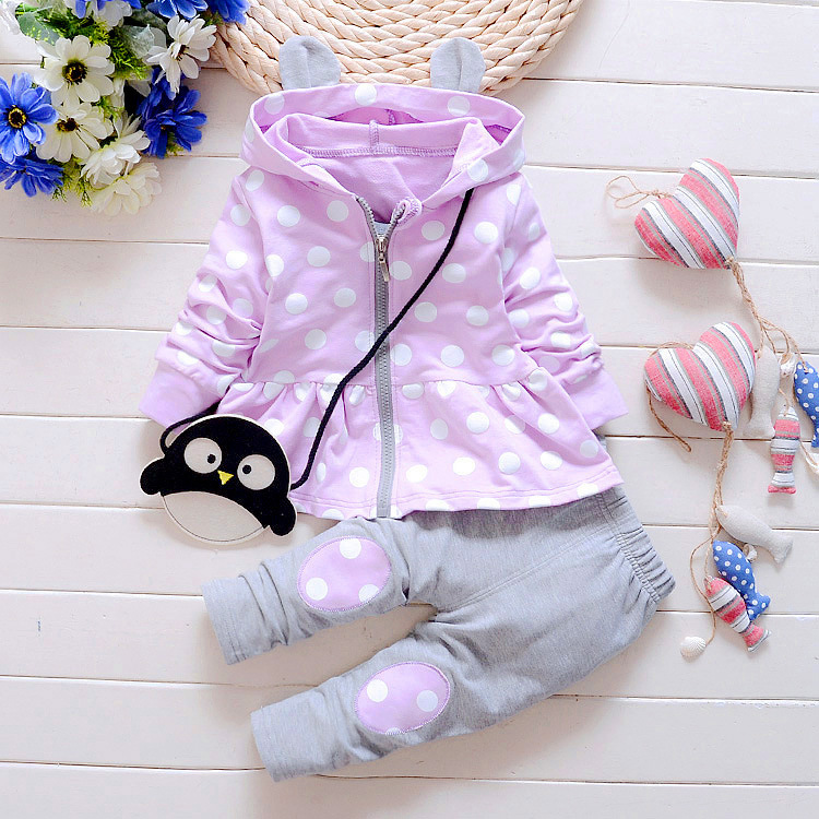 Baby Girl Clothing Sets Fashion Polka Dot Print Hooded Kids Girls Clothes Set Infant Outfit Sport
