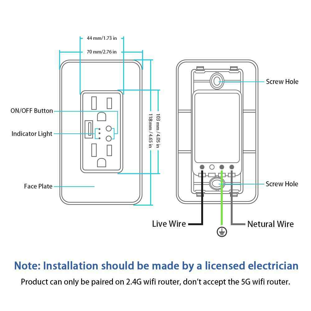 us smart wifi outlet duplex receptacle in wall socket 2 independent control outlets 5v  [ 1000 x 1000 Pixel ]