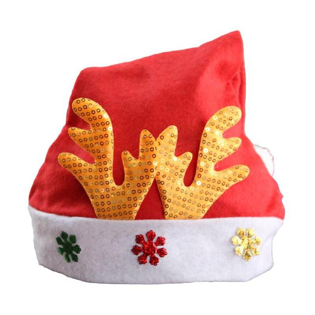 bling seqins xmas red cap elk novelty hat for christmas party santa claus snowman elk christmas