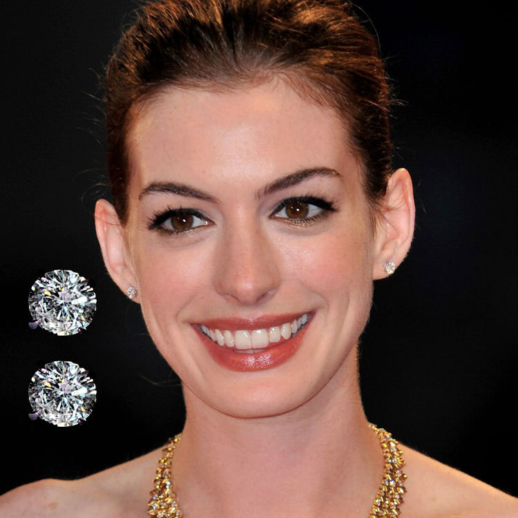 Celebrity Anne Hathaway Inspired 0 50ct Like Brilliance Cut Aaa Cubic Zirconia Diamond Studs Rhodium Plated Br Free Shipping In Stud Earrings From