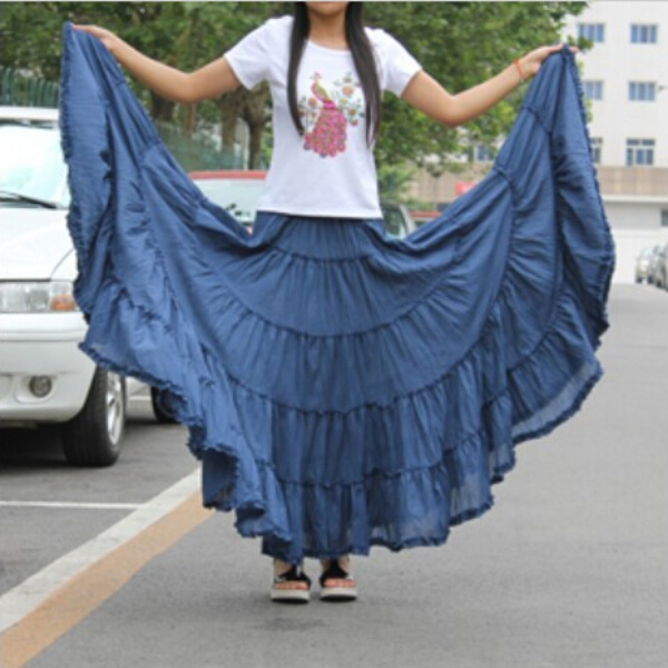 Long Skirts Womens  Fashion Candy Color Cotton Falda Female Vintage Casual Beach Bohemia Ruffle Big Pendulum Maxi Skirt