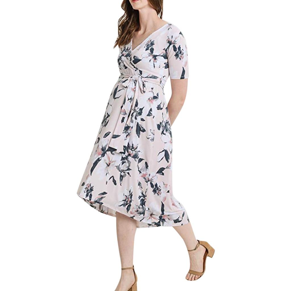 Telotuny платья для беременных платье Для женщин с коротким рукавом цветок PrintingFrenulum платье Беременность платья #42