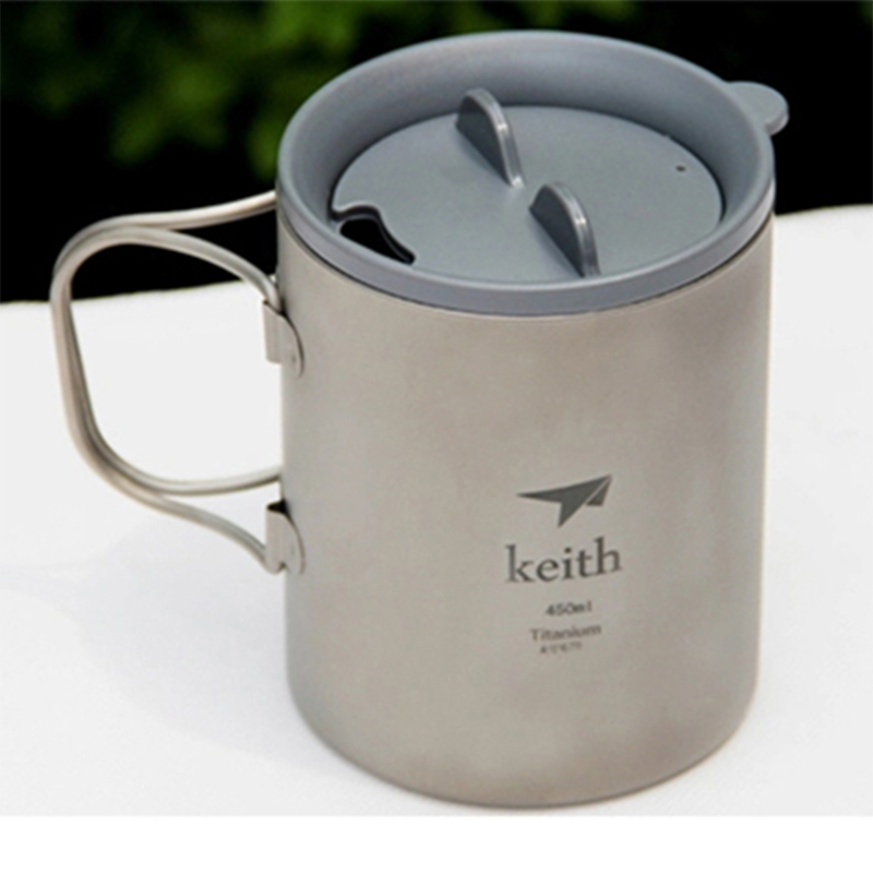 Keith Hot Sale 450ml Mugs Titanium Tea Cup Double-wall Insulated Cups Copos For Outdoor Camping Travel Mug With Lid Ti3341 keith double wall titanium insulated mug with titanium lid water mugs folding handle outdoor camping travel tableware utensils