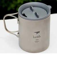 Keith offre spéciale 450 ml tasses titane thé tasse Double paroi isolé tasses Copos pour Camping en plein air voyage tasse avec couvercle Ti3341