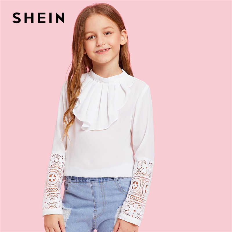 04c6dfdff73a31 SHEIN Kiddie White Solid Contrast Lace Ruffle Front Casual Blouse Kids Tops  2019 Spring Long Sleeve