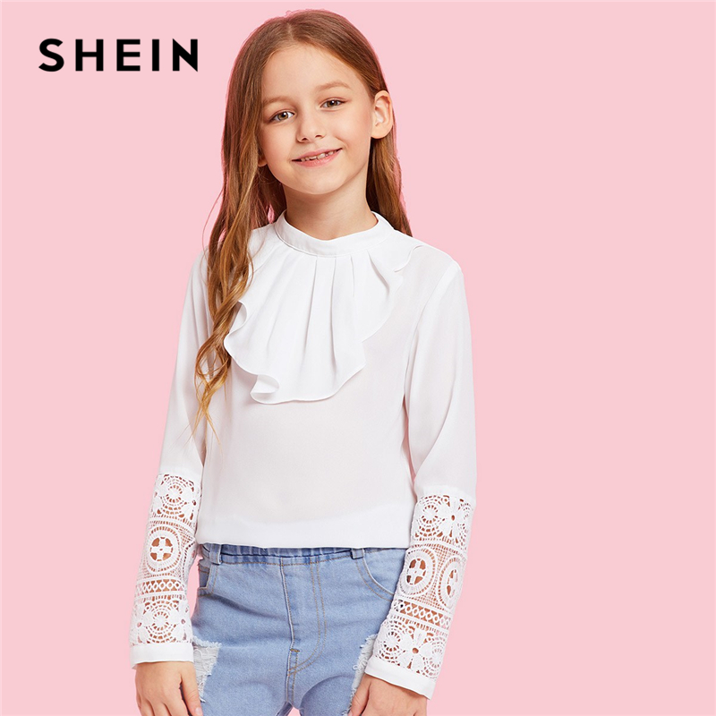 цена SHEIN Kiddie White Solid Contrast Lace Ruffle Front Casual Blouse Kids Tops 2019 Spring Long Sleeve Keyhole Back Girls Blouses