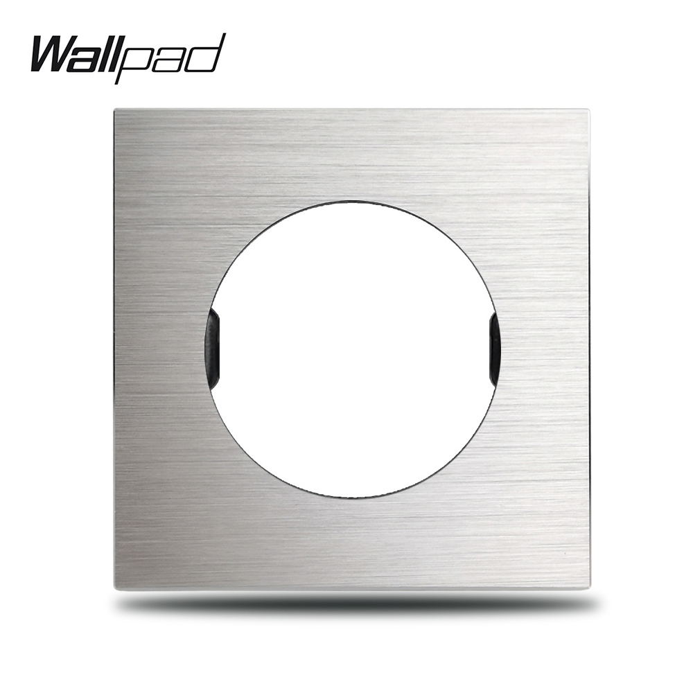 L6 DIY Silver Panel Brushed Aluminum Wall Switch Socket UK EU Universal Metal Plate Free Combination, 86*86mm