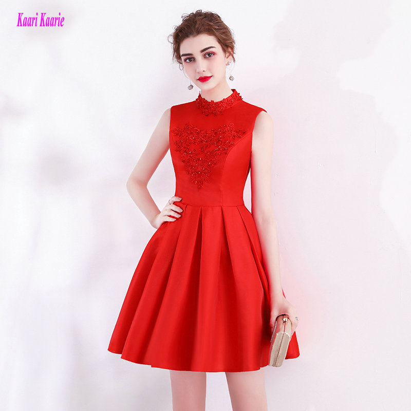 Fast Delivery Red Short   Cocktail     Dresses   2018 New Sexy High-Neck Satin knee-Length Lady Casual   Cocktail   Party Gown Real Photos