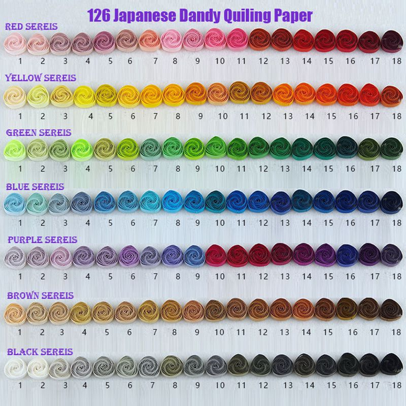 Free Shipping(126 package/lot)1.5&3&5mm Long 390 mm 126 Colors Top-grade Japanese Dandy Quilling Paper,DIY Handmade Paper
