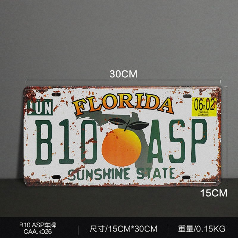 FLORIDA B10 ASP Vintage License Plate Retro Iron Painting Poster Wall Sticker tin sign Bar Cafe Wall Decor 15X30 CM