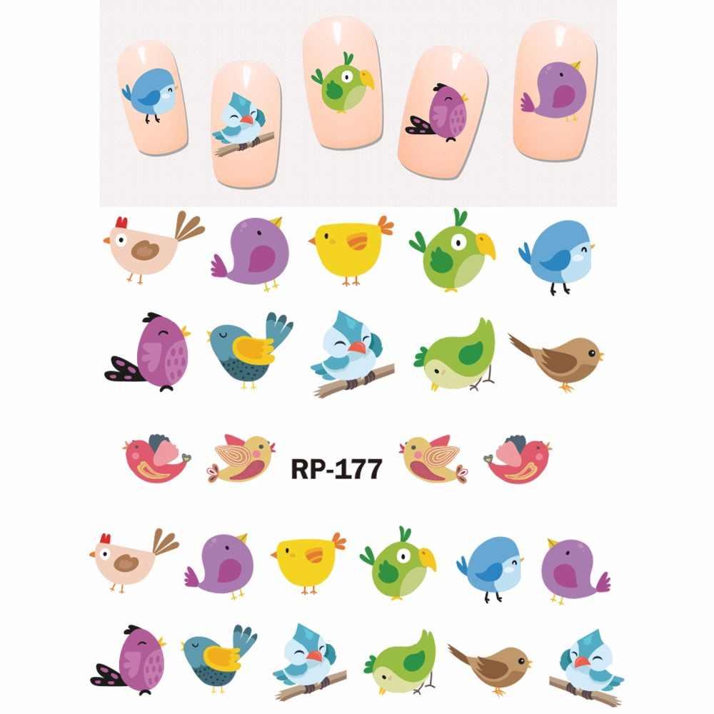 NAIL ART beauté ongle autocollant eau décalcomanie curseur dessin animé mignon oiseau perroquet FLAMINGO hibou plume RP175-180