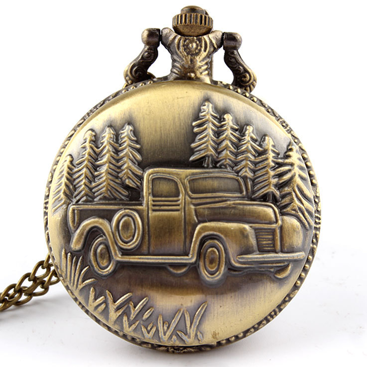 Dropshipping Antique Car Truck Pendant Quartz Pocket Watch Necklace Chain Mens New Gift P137 Relogio De Bolso