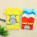 2016 New  Boys Cartoon Printed Cotton T Shirt Baby Boy clothes Kids Top shorts Tee S0171