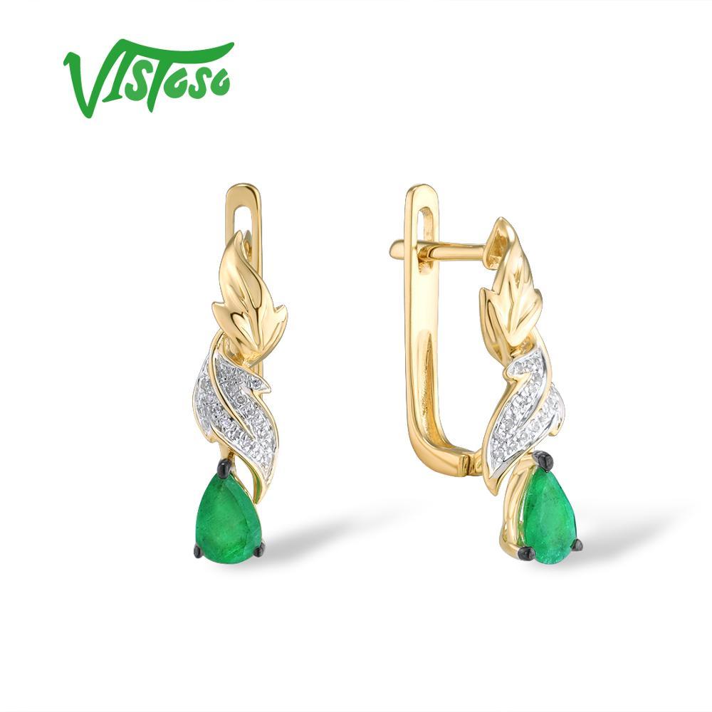 VISTOSO boucles d'oreilles en or jaune pur 14K 585 pour femmes feuilles glamour émeraude diamant étincelant élégant bijoux fins à la mode