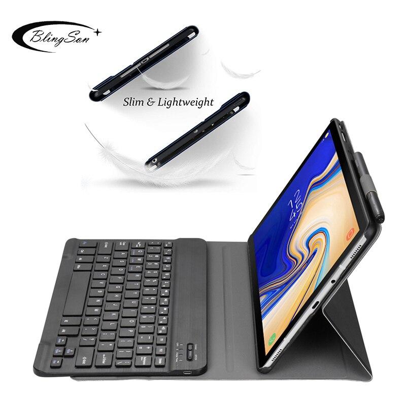 Bilgisayar ve Ofis'ten Tabletler ve e-Kitaplar Kutu'de Ince Samsung kılıfı Galaxy Tab S5e SM T720 SM T725 2019 Bluetooth Klavye Tablet Kapak için Samsung T720 T725 Klavye Kılıfları title=