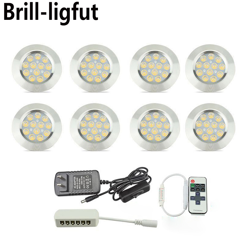 Ultra-thin Dimmable Recessed LED Under Cabinet Lights Kit LED Puck Lights LED Spotlight For Kitchen Cupboard Closet Lights