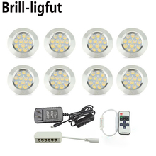 Ultra-thin Dimmable Recessed LED Under Cabinet Lights Kit Puck Spotlight for Kitchen Cupboard Closet