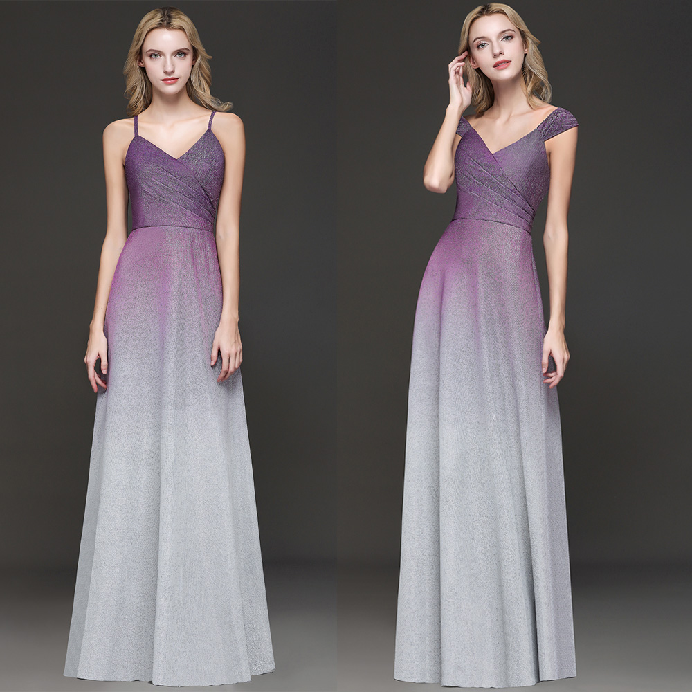 2 Style   prom     dresses   long vestidos de fiesta largos elegantes de gala Purple Gray Gradient Formal Evening   Dress   Party Gown 2019