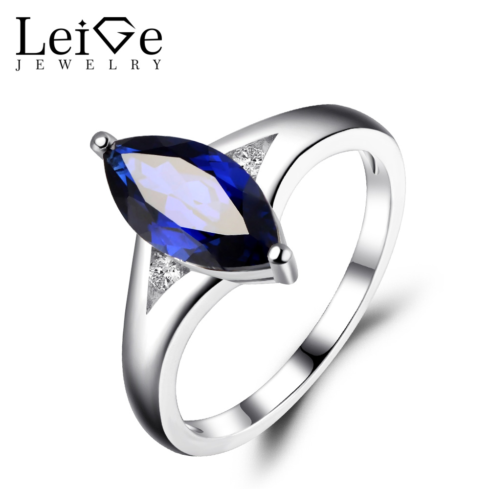 Leige Jewelry Blue Sapphire Engagement Rings Marquise Cut 925 Sterling Silver Gemstone Jewelry Wedding Ring September Birthston