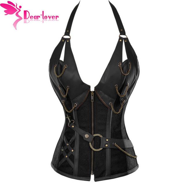 Dear Lover Mujeres bustiers y corsés corsé LC5313 Brown Brocade Steampunk Corsé Con G-string plus XXL sexy lingerie set
